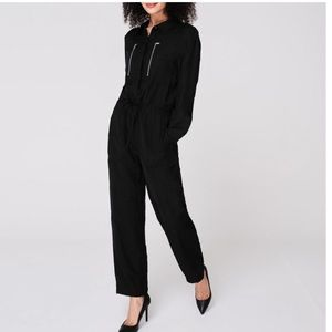 DNKY Black Jumpsuit long-sleeve zip detail Sz 14.
